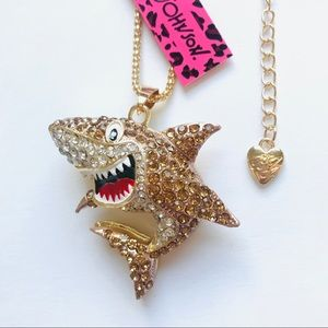 AWESOME Tan Crystal Cartoon Shark Necklace